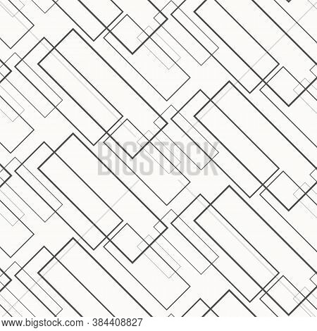 Geometric Vector Pattern, Repeating Thin Linear Square Diamond Shape And Rectangle. Clean Design For