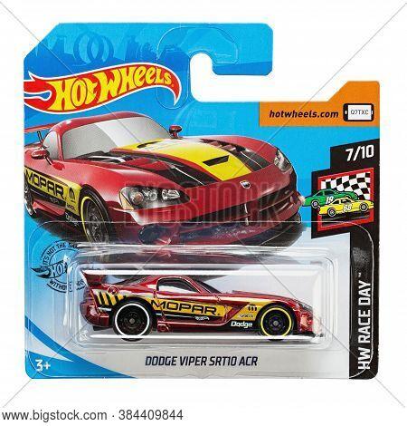 Ukraine, Kyiv - August 26. 2020: Toy Car Model Dodge Viper Srt 10 Acr. Hot Wheels Is A Scale Die-cas