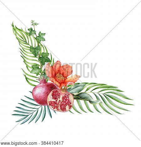 Pomegranate Fruit With Flower Arrangement Watercolor Illustration. Hand Drawn Fresh Garnet, Organic
