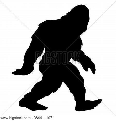 Bigfoot Sasquatch Yeti Silhouette Cartoon Isolated Vector Illustration