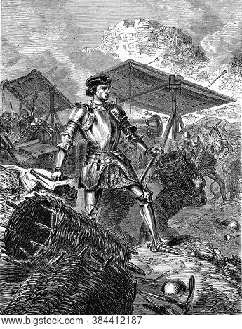 Jean Bureau and his guns, Vintage engraving. From Popular France, 1869.
