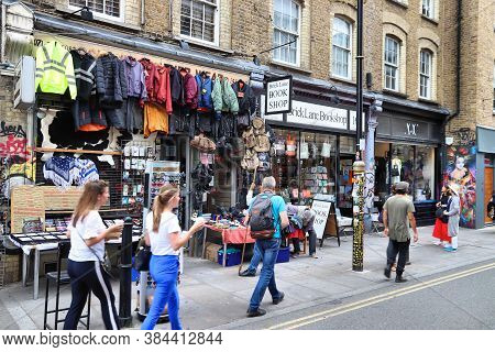 London, Uk - July 13, 2019: People Visit Brick Lane Street In Shoreditch District Of London. Shoredi