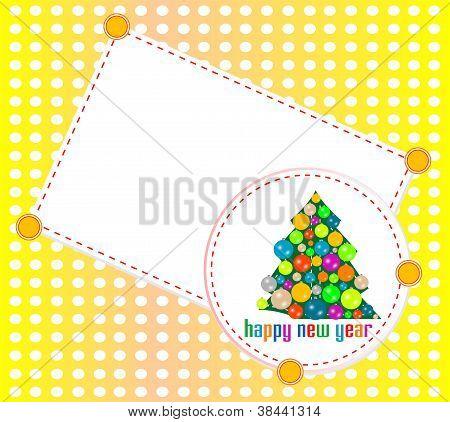 Christmas Tree Invitation Card With Blank Space