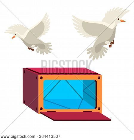 Open Mystery Box With Mirror Surface And Pigeon Flying Out. Magician Illusionist Object For Making T
