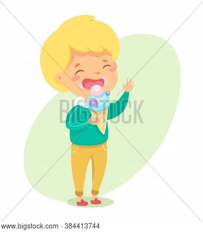 Happy Smiling Little Boy Character Enjoy Eating Ice-cream. Cute Child Licking Sweet Cold Dessert. Su