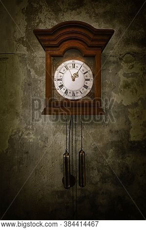 Old Clock On The Wall In An Abandonet Palace