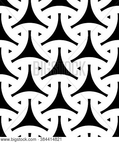 Seamless Surface Pattern Design With Traditional Japanese Ornament. Three Pronged Blocks Tessellatio