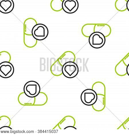 Line Pills For Potency, Aphrodisiac Icon Isolated Seamless Pattern On White Background. Sex Pills Fo