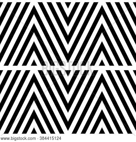 Black Chevron Lines On White Background. Zigzag Image. Seamless Surface Pattern Design With Linear O
