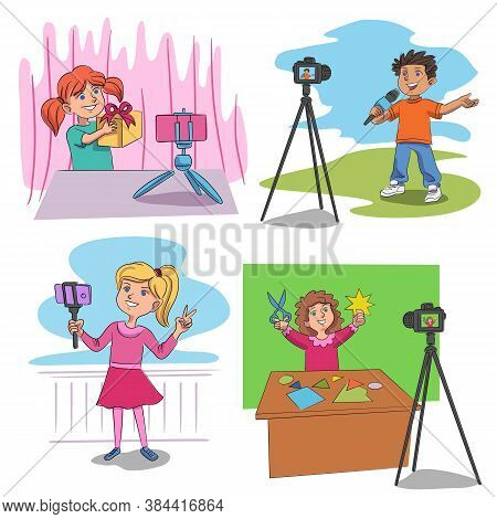 Cute Funny Kid Blogger And Vlogger Creating Content Vector Set. Boy And Girl Shooting Video About Un