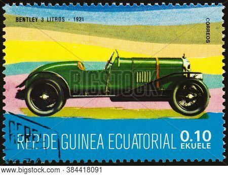 Moscow, Russia - September 07, 2020: Stamp Printed In Equatorial Guinea Shows Retro Car Bentley 3 Li