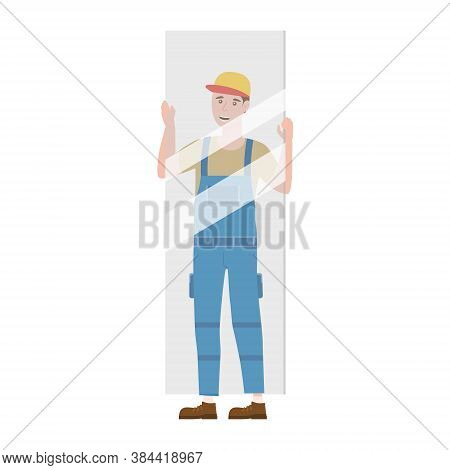 Construction Worker With With Glass Sheet In Workwear. Craftsman Character Vector Isolated