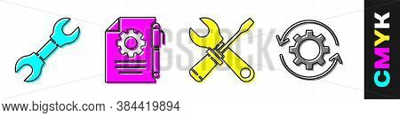 Set Wrench Spanner, Document Settings And Pen, Screwdriver And Wrench Spanner And Gear And Arrows As