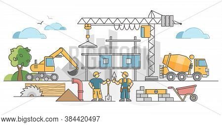 Construction Work As House Building Site With Workers Scene Outline Concept. Urban City Development