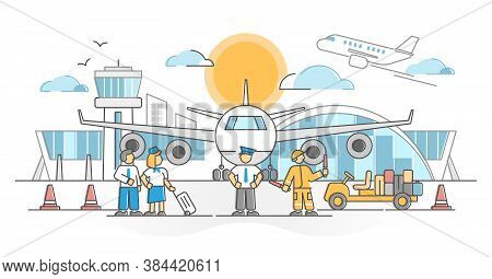 Airport With Flight Crew, Pilot, Attendants And Loader As Occupation Scene Outline Concept. Commerci