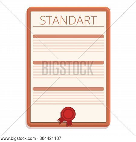 Certificate Standard Icon. Cartoon Of Certificate Standard Vector Icon For Web Design Isolated On Wh