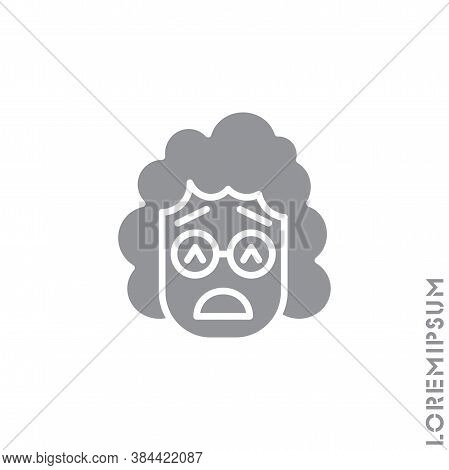 Sad Give Up Tired Emoticon Girl, Woman Icon Vector Illustration. Style. Very Sad Cry Stressful Emoti