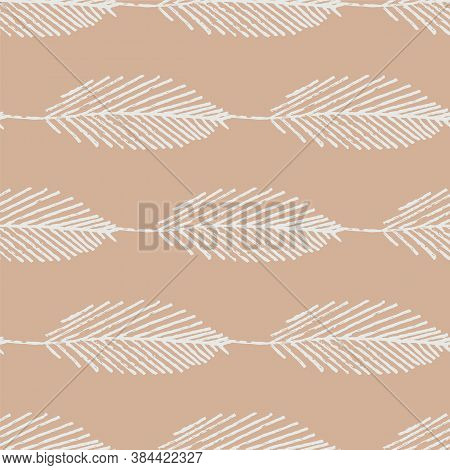 Mono Print Style Scattered Leaves Seamless Vector Pattern Background. Simple Lino Cut Effect Skeleto