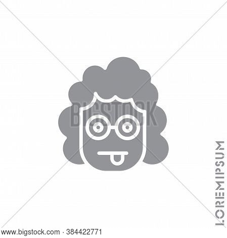 Mocking Funny Humor Emoticon Girl, Woman Icon Vector Illustration. Style. Gray On White Background