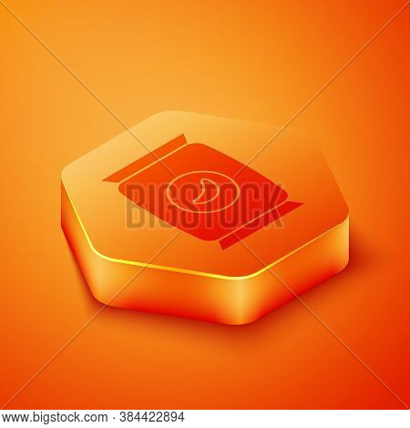 Isometric Bag Or Packet Potato Chips Icon Isolated On Orange Background. Orange Hexagon Button. Vect