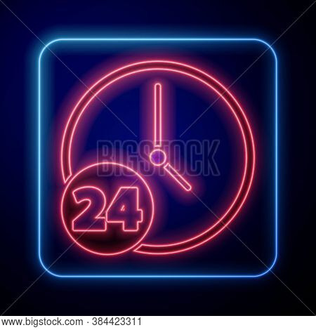 Glowing Neon Clock 24 Hours Icon Isolated On Blue Background. All Day Cyclic Icon. 24 Hours Service