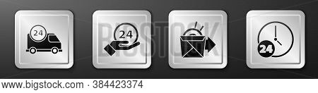 Set Fast Delivery By Car, Clock 24 Hours, Online Ordering Noodles Delivery And Clock 24 Hours Icon.