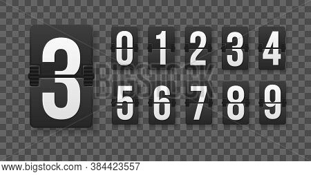 Set Of Numbers On A Mechanical Scoreboard. Creative Vector Illustration Of Countdown Timer With Diff