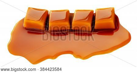 Salted Caramel Chunks  Isolated On White Background. Golden Butterscotch Toffees Caramel Candies.
