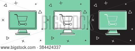 Set Shopping Cart On Screen Computer Icon Isolated On White And Green, Black Background. Concept E-c