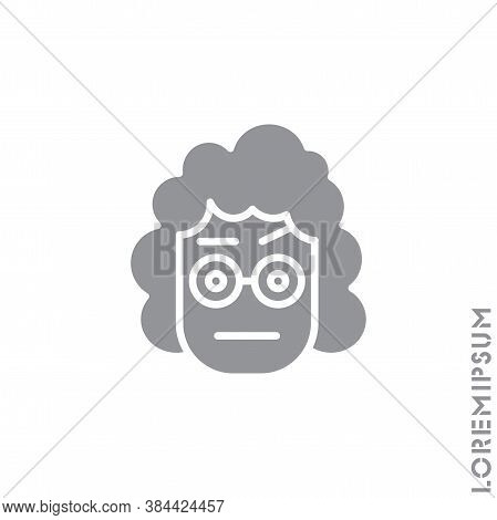 Confused Thinking Emoticon Girl, Woman Icon Vector Illustration. Style. Gray On White Background