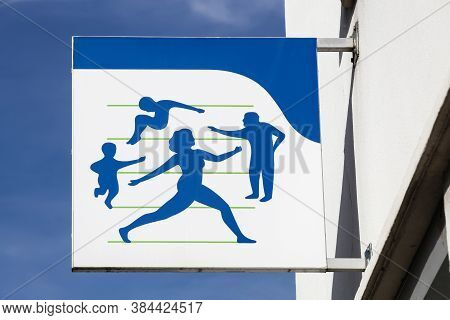 Macon, France - March 15, 2020: Social Security Sign On A Wall. Illness Branch Called Assurance Mala