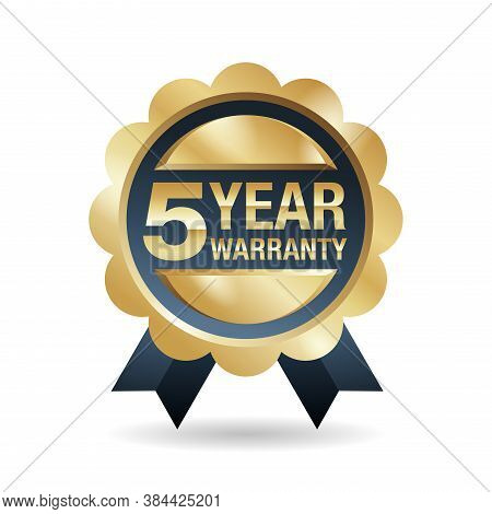 5 Year Warranty Emblem - Five Years Of Guarantee Service Stamp In Golden Glossy Style - Isolated Vec