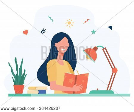 Girl Writing In Diary Or Journal Isolated Flat Vector Illustration. Cartoon Teenager Reading Book Or