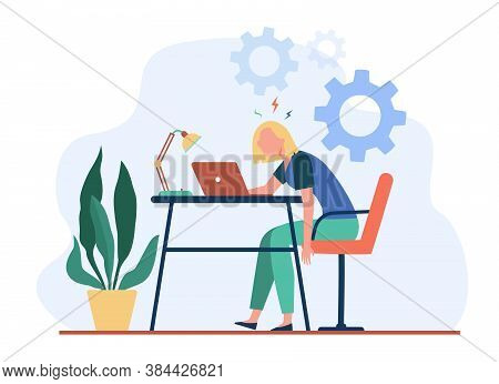 Tired Exhausted Woman Working At Laptop And Feeling Burnout. Vector Illustration For Overload, Overw