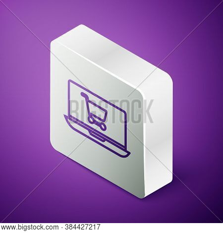 Isometric Line Shopping Cart On Screen Laptop Icon Isolated On Purple Background. Concept E-commerce