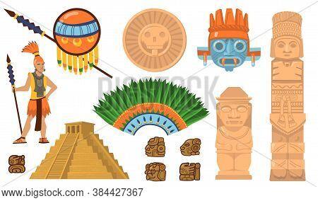 Aztec And Maya Symbols Set. Ancient Pyramid, Inca Warrior, Ethnic Masks, Gods And Idols Artifacts. F