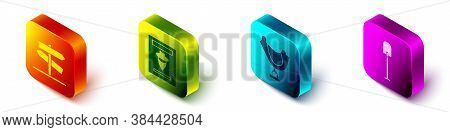 Set Isometric Road Traffic Signpost, Wanted Western Poster, Wild West Saddle And Shovel Icon. Vector