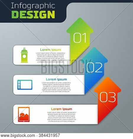 Set Paint Spray Can, Graphic Tablet And Graphic Tablet. Business Infographic Template. Vector