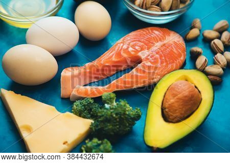 Keto Diet, Food On Blue Background. Selective Focus