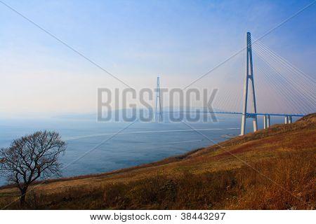 Bridge to Russky island. Vladivostok city.