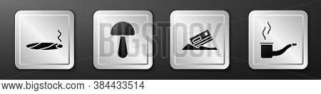 Set Cigar With Smoke, Psilocybin Mushroom, Cocaine And Credit Card And Smoking Pipe Icon. Silver Squ