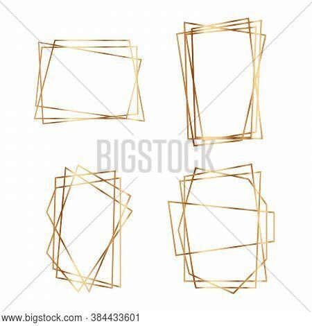 Gold Geometric Wedding Invitation, Set Of Luxury Frames.  Art Deco Style Design For Wedding Card, In
