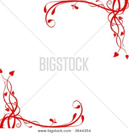 Red Floral Corners Background
