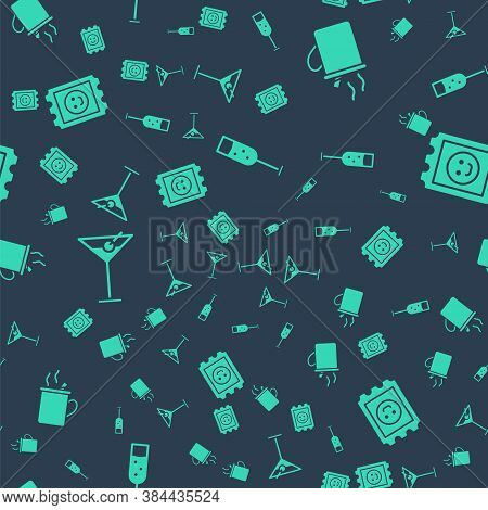 Set Glass Of Champagne, Mulled Wine, Martini Glass And Lsd Acid Mark On Seamless Pattern. Vector