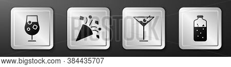 Set Cocktail And Alcohol Drink, Festive Confetti, Martini Glass And Mulled Wine Icon. Silver Square