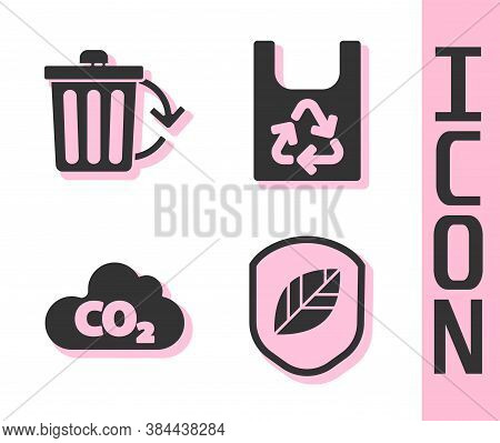 Set Shield With Leaf, Recycle Bin With Recycle, Co2 Emissions In Cloud And Plastic Bag With Recycle