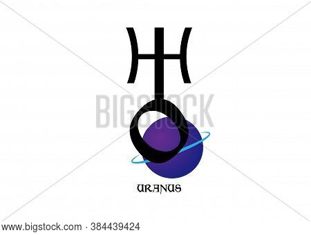 Planet Symbol, Sign Of Uranus. Symbol Illustration Of Astrology Planet - Uranus. Zodiac And Astrolog