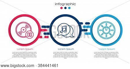 Set Line Vinyl Disk, Musical Note In Speech Bubble And Dial Knob Level Technology Settings. Business