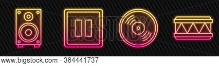 Set Line Vinyl Disk, Stereo Speaker, Pause Button And Drum. Glowing Neon Icon. Vector