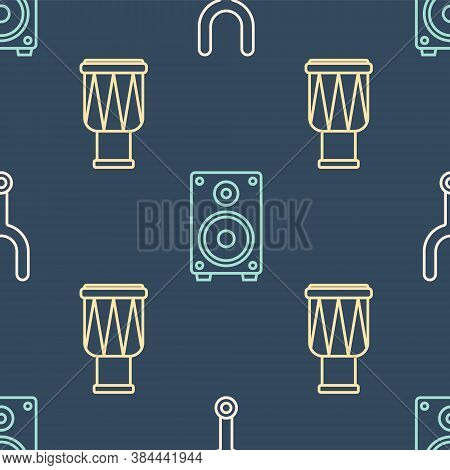 Set Line Musical Tuning Fork, Drum And Stereo Speaker On Seamless Pattern. Vector